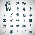 Set of twenty seven art and cinema icons