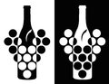 Set two black white elegance wine symbol Royalty Free Stock Photo