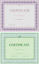 Set of two certificates in different colors vintage frame on a seamless floral background Stock Photo
