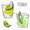 Set of two cocktail shots with lime segments sketch and watercolor ilustration tequila Stock Photos