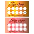 Set of two Coffee shop loyalty card for hot drinks templates. Abstract design. Vector.