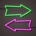 A set of two color variants of neon lamps with wires, shaped arrow pointer. Green and violet. .