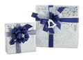 Set two gift box silver shiny paper wrap blue ribbon bow isolated Royalty Free Stock Photo