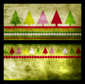 Set of two green Christmas greeting cards Royalty Free Stock Image