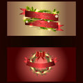 Set of two separated christmas and new years banners with wreath Royalty Free Stock Photo