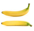 Set of two spotless yellow bananas over white isolated background Royalty Free Stock Image