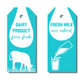 Set of two tags with milk symbol. Cow, Milk pouring from a bottle in glass.