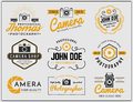 Set of two tone colors photography and camera service logo insignia design Royalty Free Stock Photo