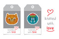 Set of two vector tags with knitted animals Royalty Free Stock Photo