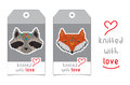Set of two vector tags with knitted animals