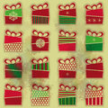 Set of types of christmas present boxes organized as seamless pattern over grunge background eps Stock Image