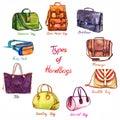 Set Types Of Handbags: Back Pocket Bag, Briefcase, Messenger, Saddle, Barrel, Bowling, Tote, Fanny Pack And Doctors Bag