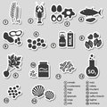 Set of typical food allergens for restaurants stickers eps Stock Photos