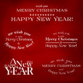 Set of typographic elements merry christmas and happy new year Stock Photography