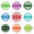 Set of typographic elements spirograph labels frames and ornaments vector illustration Royalty Free Stock Photo