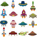 Set of ufo rocket icons cartoon vector illustration Stock Image