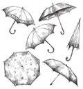Set of umbrella drawings, hand-drawn Royalty Free Stock Photo
