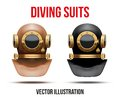 Set of underwater diving suit helmet vector front view scuba water leisure old style editable illustration on white background Royalty Free Stock Photos