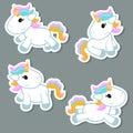 Set of unicorn stickers