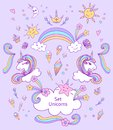 Set Unicorns and cute elements in doodle cartoon style