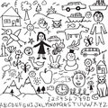 A set of unique hand drawn, child like drawings in Royalty Free Stock Image