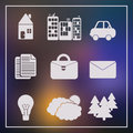 Set of 9 universal modern icons for web and mobile