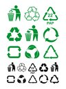 Set of universal recycling green and black symbol. International symbol used on packaging to remind dispose of it in a bin instead Royalty Free Stock Photo