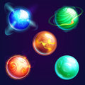 Set of universe planets or cosmos stars