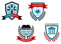 Set of university and education emblems isolated on white background Stock Photo