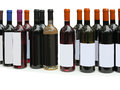 Set of unlabeled wine bottles isolated over white Stock Images