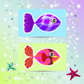 Set of unusual colored fish illustration depicting multicolored on stickers Stock Images