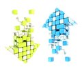 Set of up and down arrow icon colored blue and green Royalty Free Stock Photo