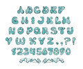 Set uppercase alphabets numerals original comic style colors isolated white vector eps Royalty Free Stock Photo