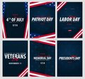 Set of USA celebrations. Public Holidays. 4th July, Patriot day, Labor day, Veteran`s day, Memorial and Presidents day.