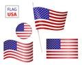 Set USA flag USA flag in form circle icon.