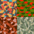 Set of USA shape camo seamless pattern. Colorful America urban camouflage. Vector fabric textile print design Royalty Free Stock Photo