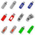 Set of usb pen drive memory flash icons on white background Royalty Free Stock Photography