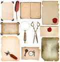 Set used paper sheets edges Vintage book pages photo frame sciss Royalty Free Stock Photo