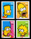Set used postage stamps printed united states showing bart homer marge lisa simpson simpsons tv show circa Royalty Free Stock Photo