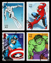 Set used postage stamps printed usa showing superheroes silver surfer spider man captain america incredible hulk circa Royalty Free Stock Photo