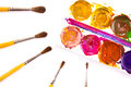 Set of used watercolor paints and paintbrushes watercolour on white Stock Photos