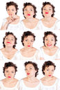 Set of useful woman faces Stock Photography