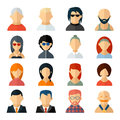 Set of user avatar icons in flat style with diverse men and women old to young professionals to sporty bald to colorful harstyles Stock Photography
