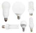 Set of usual incandescent light bulbs energy saving compact fluorescent led isolated on white background Stock Photo