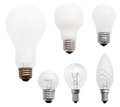 Set of usual incandescent light bulbs isolated on white background Royalty Free Stock Photos