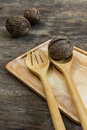 Set of utensils with pong pong on wooden table decorated Stock Photography
