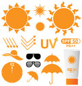 Set of uv sun protection on white background Stock Image