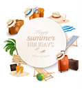 Set of vacation related icons vector Stock Images