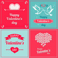 Set of Valentine cards. Greetings with Valentine`s day