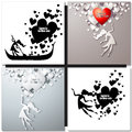 Set of Valentine day greeting cards